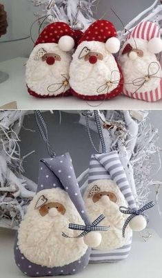 Preparing for Christmas: Make and Gift Lucky Gnomes Felt Christmas Ornaments, Easy Christmas Crafts, Christmas Gnome, Handmade Christmas, Christmas Decorations, Christmas Sewing Projects, Theme Noel, Diy Natal, Free Images