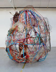 Who: Emily Motto. What: Sculpture created from yarn, fabric, steel and plastic objects (hula hoops). Why: I like the dramatic size of this sculpture and how it has been created using everyday objects that no longer were purposeful. Textile Sculpture, Textile Fiber Art, Textile Artists, Soft Sculpture, Abstract Sculpture, Organic Sculpture, Sculpture Ideas, Bronze Sculpture, Small Sculptures