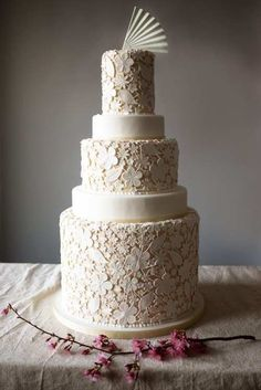 L said she'd like to have a wedding cake with a floral appearance. Do you think this might be too much?