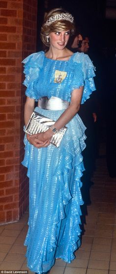 Dramatic new look: Bruce Oldfield's 1983 chiffon blue dress marked a daring new style direction for Diana