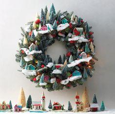 Magical Village-Themed Christmas Wreath   Martha Stewart