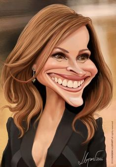 Julia Roberts by Eugeni Llopart Funny Caricatures, Celebrity Caricatures, Celebrity Drawings, Funny Celebrity Pics, Celebrity Babies, Julia Roberts, Funny Drawings, Cartoon Drawings, Cartoon Art