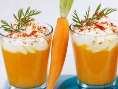 Cappuccino of carrots Cappuccino Recipe, Cappuccino Coffee, Cappuccino Machine, Tapas, Italian Coffee, Eating Habits, Mousse, Carrots, Brunch