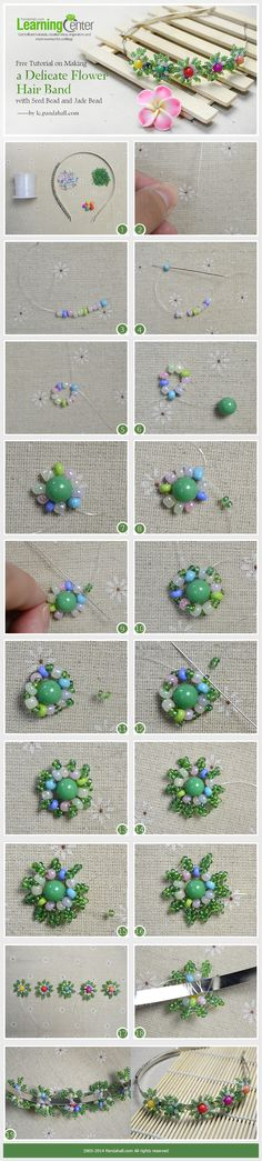 Free Tutorial on Making a Delicate Flower Hair Band with Seed Bead and Jade Bead