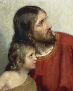 Christ and Children Closeup, Carl Bloch