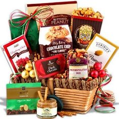 Christmas Gift Basket Classic #gifbasket #gift #xmass #xmas         Gourmet holiday snacks include our signature Macadamia Nut Crunch Popcorn, chocolate chip cookies, dipping pretzels, raspberry honey mustard pretzel dip, gourmet roasted peanuts, a dark chocolate bar, buttered peanut crunch, metropolitan trail mix, dark chocolate raspberry sticks, and mint chocolate dipped sugar cookies!      Keepsake stylish and multifunctional basket.100% Satisfaction Guarantee for you and your recipient.