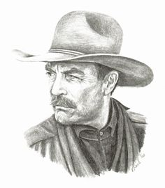 Tom Selleck Pencil Drawing by artist Vicki by DrawingsbyVicki, $25.00