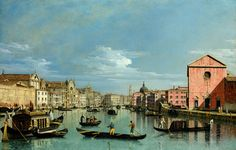 Bernardo Bellotto – The National Gallery (London) NG2514. TitleVenice: Upper Reaches of the Grand Canal Facing Santa Croce. Date: c. 1740s. Materials: oil on canvas. Dimensions: 59.7 x 92.1 cm. Nr.: NG2514. Sourcehttp://art.alafoto.com/albums/collections/EuropeanPaintings/BELLOTTO_Bernardo_-_Venice_-_The_Grand_Canal_facing_Santa_Croce.jpg. I have changed the contrast of the original photo.