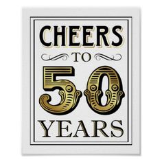 Vintage Gold Party CHEERS TO 50 YEARS Sign Print - vintage wedding gifts ideas personalize diy unique style