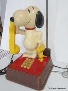 Vintage Snoopy & Woodstock Phone Lamp Combo-Made in USA