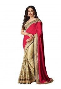 Shonaya Red & Beige Color Net,Lycra Georgette & Chiffon Embroidery Saree With Unstitched Blouse Piece