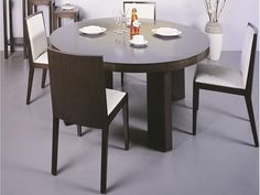 """Beverly Hills Omega Dining Table - Round Wenge Dining Table. Dimensions:48"""" x 30""""."""
