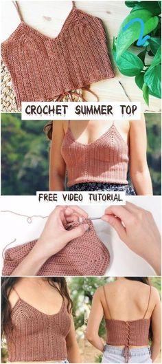 Crochet Summer Tops, Summer Knitting, Crochet Crop Top, Crochet Tops, Crochet Top Outfit, Crochet Skirts, Mode Crochet, Knit Crochet, Crotchet