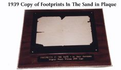 Footprints Plaque...http://footprintsmiracles.com The story behind the story Footprints Miracles Secrets & Lies a Documentary by Kathy Bee