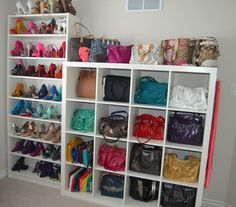 Rethink simple Ikea shelves. Not just for books! They're a great way to organize those shoe and purse collections! #POCHacks