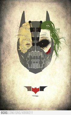 alice brans posted Nolan's Batman trilogy portrayed in one mask: Scarecrow + Joker + Bane + Batman to their -geeking- postboard via the Juxtapost bookmarklet. Bane Batman, I Am Batman, Batman Stuff, Superman, Batman The Dark Knight, The Dark Knight Trilogy, The Dark Knight Rises, Batman Dark, The Dark Knight Poster