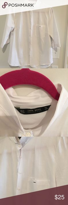 c9a26dbe5e291 Cross Back Top White poplin collarless button up shirt with cross slit back  from Zara
