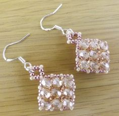 Peaches & Cream Diamond Beaded (Double Sided) Dangle Earrings on Silver Hooks