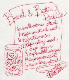 Bread and Butter Pickles (Redwork)