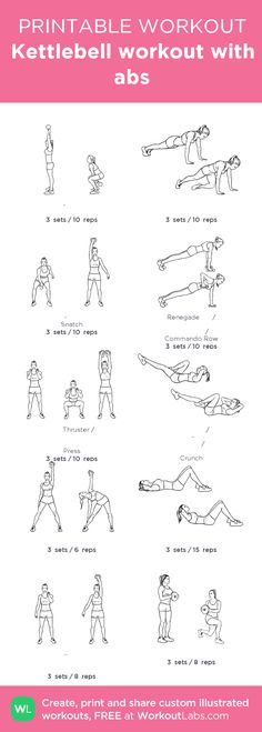 Kettlebell workout with abs –my custom workout created at WorkoutLabs.com • Click through to download as printable PDF! #customworkout