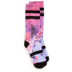 Stance'ShangriLa' Crew Socks (14 PAB) ❤ liked on Polyvore featuring intimates, hosiery, socks, multi purple, stance socks, purple socks, seamless socks and crew socks