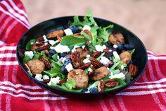 Sweet Apple Chicken Sausage, Endive, & Blueberry Salad with Toasted Pecans Blueberry Salad, Chicken Apple Sausage, Toasted Pecans, Pretty Good, Kung Pao Chicken, Allrecipes, Favorite Recipes, Healthy, Hot