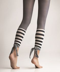 Ink Malibu Stripe Footless Tights