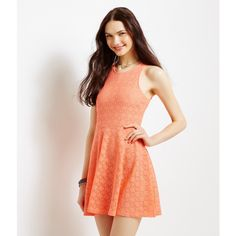 Aeropostale Solid Diamond Lace Dress featuring polyvore, fashion, clothing, dresses, fresh coral neon, diamond dress, aeropostale dresses, aéropostale, lace dress and neon dress