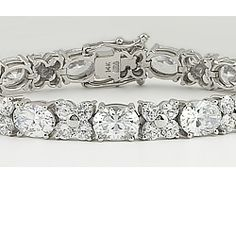 Ovals with Small Rounds Cubic Zirconia Designer Bracelet
