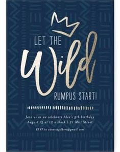 """""""Wild Rumpus"""" - Customizable Foil-pressed Children's Birthday Party Invitations in Blue by Seven Swans. Custom Birthday Invitations, Baby Shower Invitations For Boys, Baby Shower Themes, Baby Boy Shower, Navy Baby Showers, Seven Swans, Party Favors For Kids Birthday, Party Favor Tags, Animal Party"""