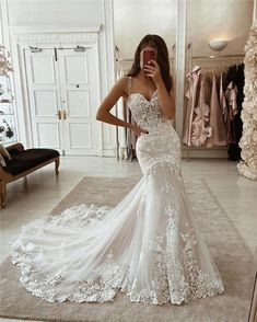 Cute Wedding Dress, Lace Mermaid Wedding Dress, Wedding Dress Trends, Best Wedding Dresses, Mermaid Dresses, Bridal Dresses, Gown Wedding, Fitted Wedding Dresses, Mermaid Bridal Gowns