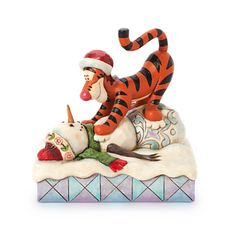 Jim Shore for Enesco Disney Traditions by Tigger with Snowman Figurine, Pouncin' is what Tiggers do best! And this Jim Shore snowman seems to enjoy it too. Designed by Jim Shore for Disney Traditions. Hades Disney, Walt Disney, Disney Cats, Disney Dolls, Disney Magic, Jim Shore Christmas, Disney Christmas, Disney Collectibles, Jim Shore Disney