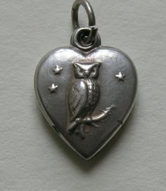 Antique Owl Sterling Heart Charm