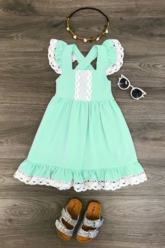 Mint Lace Halter Dress - Sparkle in Pink