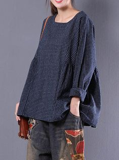 Only US$16.99 , shop Women Crewneck Check Loose Baggy Blouse at Banggood.com. Buy fashion Blouses online.