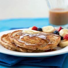 Cooking Light's Whole Wheat Buttermilk Pancakes - SO MUCH BETTER than the just-add-water mix.