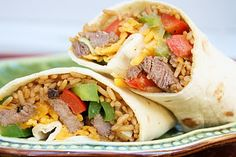 Steak Fajita Burritos...filled with Spanish rice, onions, and bell peppers.