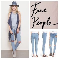 """Free People Destroyed Stretchy Skinny Jeans.  NWT. Free People Destroyed Mid Rise Stretchy Skinny Jeans, 53% cotton, 23% rayon, 22% polyester, 2% spandex, machine washable, 32"""" waist, 9.5"""" front rise, 14"""" back rise, 27.5"""" inseam, 11"""" leg opening, tonal stitching, rips at knee, brass tone hardware, five pockets, zip fly button closure, stretchy, fitted, belt loops, measurements are approx. No Trades. Free People Jeans Skinny"""