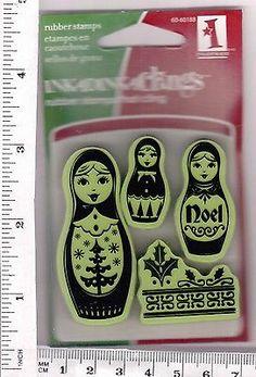 Russian Nesting dolls #C600 cling rubber stamps Inkadinkado Christmas