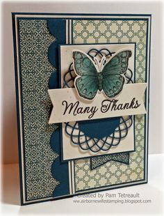 """airbornewife's stamping spot: DS192 """"MANY THANKS"""" Butterfly card"""