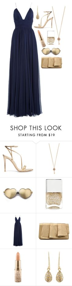 """""""Golden Age"""" by pannitat ❤ liked on Polyvore featuring Gianvito Rossi, Aéropostale, Wildfox, Nails Inc., Jenny Packham, La Regale, MAC Cosmetics and Carolina Bucci"""