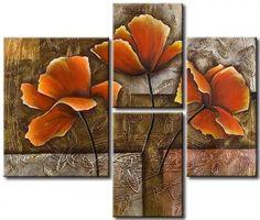 Triptych Wall Art, Canvas Wall Art, Art Floral, Flower Canvas, Flower Art, Contemporary Art Daily, Modern Art, Deco Paint, Glass Wall Art