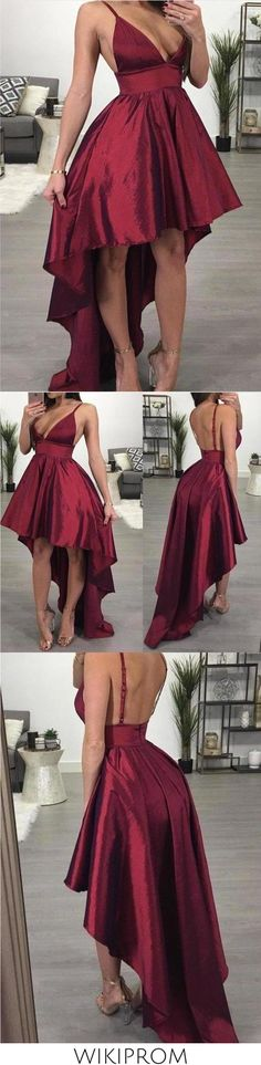 A line Deep V Neck High Low Spaghetti Straps Sleeveless Taffeta Prom Dresses uk This dress could be custom made, there are no extra cost to do custom size and color Grey Prom Dress, Burgundy Homecoming Dresses, Prom Dresses Long Pink, Straps Prom Dresses, Backless Prom Dresses, Pretty Dresses, Evening Dresses Online, Cheap Evening Dresses, Cheap Prom Dresses