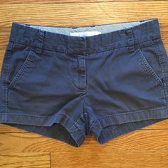 """J. Crew Dark Gray Broken-in Chino Shorts Good used condition.  3"""" Inseam. A little faded at edges. Great shorts! J. Crew not Factory.                                        Bundle 2 or more for 15% off!!!                                Smoke free home                                                                                                                                           Make an offer!  J. Crew Shorts"""