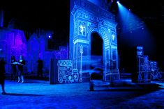 Event designer David Stark created a dozens of large chalk drawings- ranging from 50 feet wide to 35 feet tall-of. Stage Lighting Design, Stage Design, Set Design, Event Lighting, David Stark, Corporate Event Design, Chalk Design, Theatre Design, Stage Set