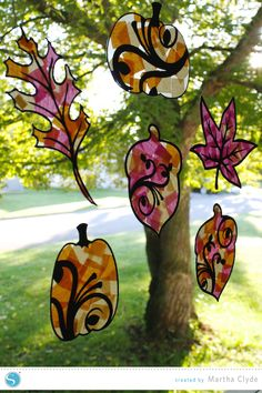 Silhouette America Blog | Tissue Paper Stained Glass Windows | Fall Kids Craft