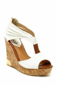 White Peep Toe Sandal with Cork Wedge.