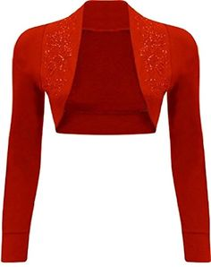 NEW Womens Beaded Long Sleeve Shrugs Sequin Bolero Crop Cardigan Top Red) Shrug Cardigan, Cropped Cardigan, Scarlet Witch Costume, Bolero Top, Cardigans For Women, Long Sleeve, Sleeves, Clothes, Style