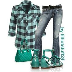 plaid shirt, blue jeans, turquoise assessories