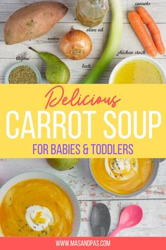 This carrot soup recipe is a great first food that's nutritious and easy to make! A delicious, creamy soup that's a perfect dinner for babies, toddlers, or even the whole family! Vegan, Gluten free, Paleo. #carrotsoup #toddlersoup #easybabyrecipes #healthybabyrecipes Easy Toddler Meals, Easy Family Meals, Healthy Meals For Kids, Kids Meals, Toddler Food, Carrot Recipes, Baby Food Recipes, Soup Recipes, Baby Led Weaning First Foods